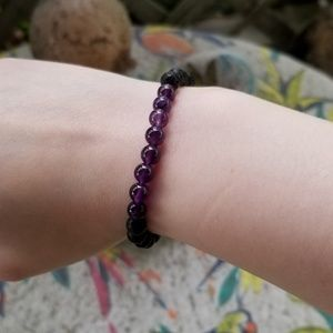 Jewelry - HAND MADE AMETHYST AND LAVA BRACELET
